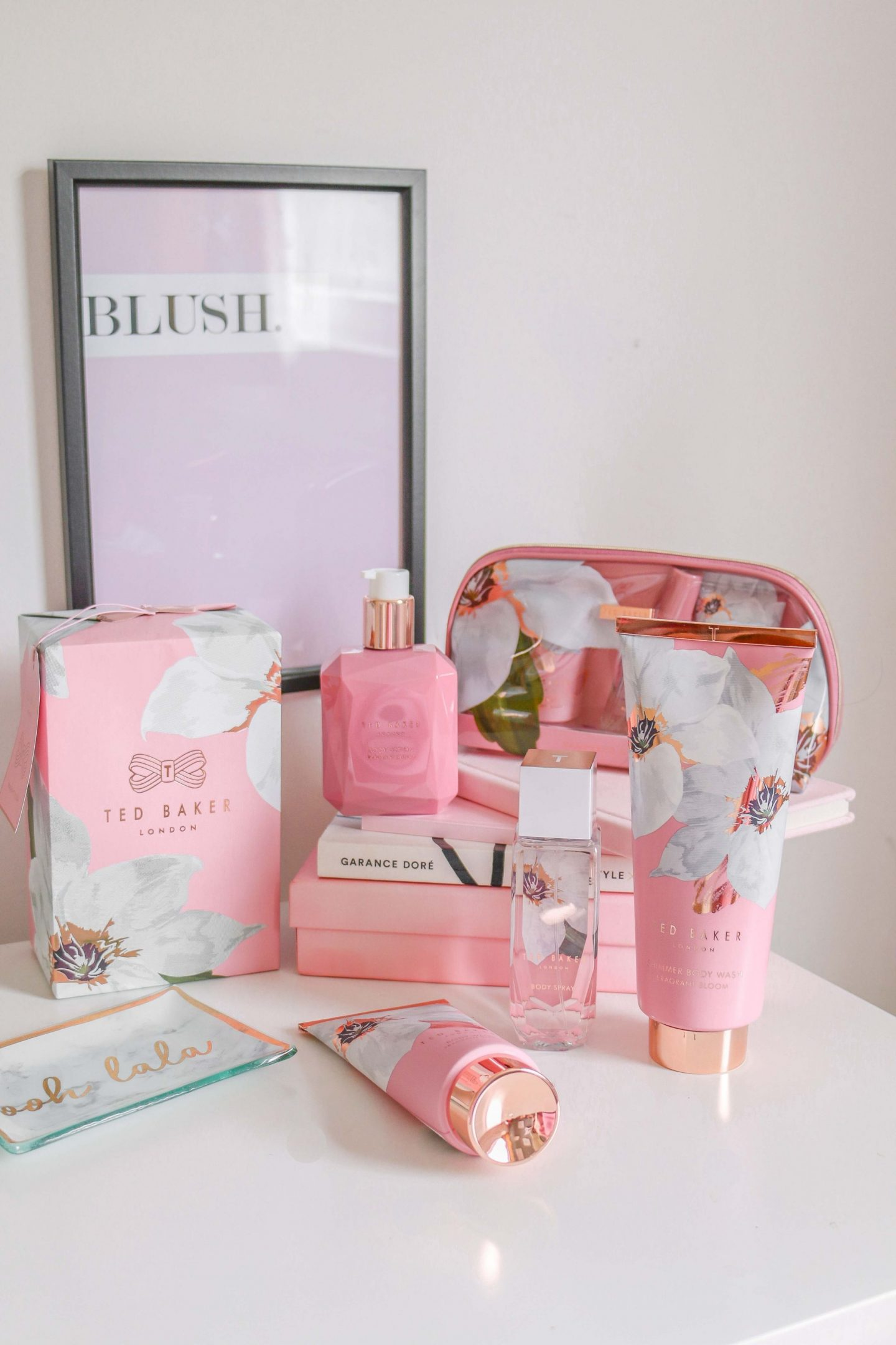 wedding, things to do after your wedding, newlywed, wedding planning, wedding flatlay, flatlay, ted baker fragrant bloom collection, ted baker, pink flatlay, ted baker products