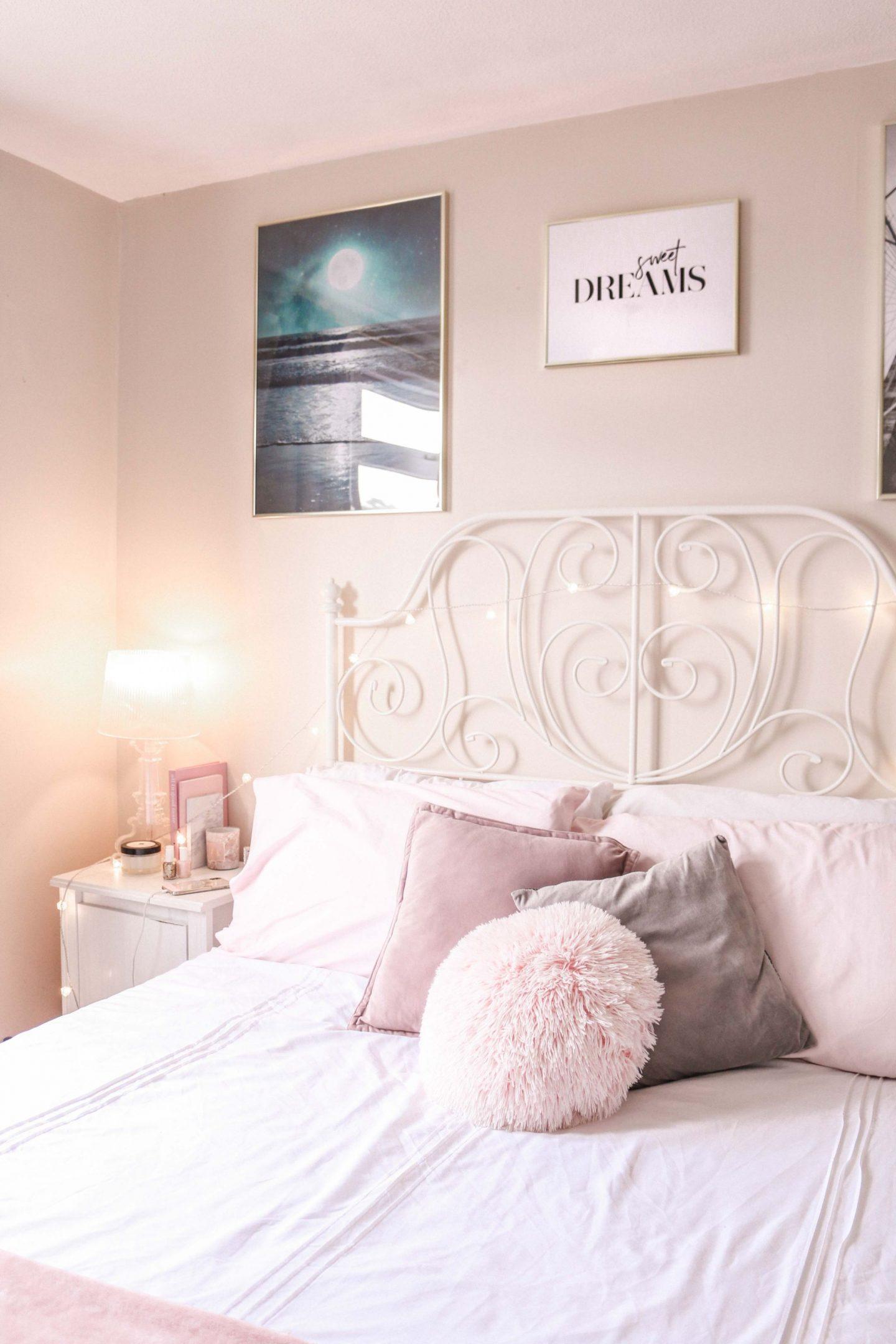 5 ways to make your bedroom more relaxing, how to sleep, how to get to sleep easier, how to relax, ways to unwind, bedroom decor, desenio prints, desenio posters, pastel bedroom, relax, sleep,