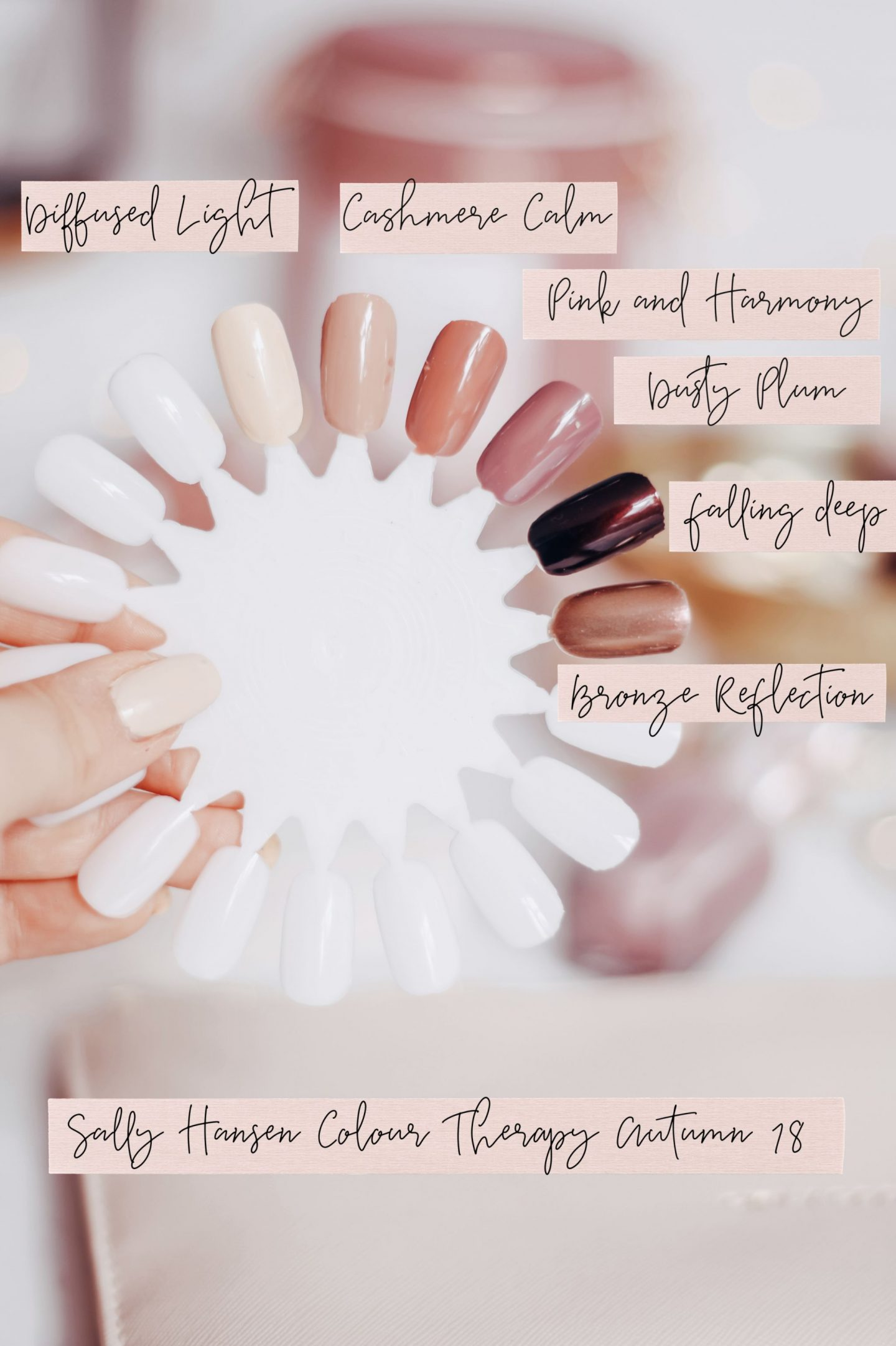 autumn nails, sally hansen colour therapy autumn range, sally hansen colour therapy nails, sally hansen colour therapy range, sally hansen colour therapy swatches, sally hansen nails, flatlay, dizzybrunette3